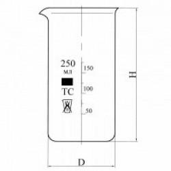 Стакан В-1-250 высокий с делениями и носиком, ТС