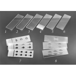 Стекло предметное СП-7103А, 26х76±1 мм, толщ. 1,0±,1 мм, с 3-мя лунками и шлифованными краями