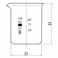 Стакан Н-1-100 низкий с делениями и носиком, ХС