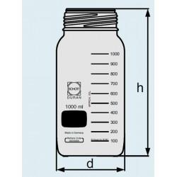 Бутыль DURAN Group 500 мл, GLS80, широкогорлая, без крышки и сливного кольца, коричневое стекло