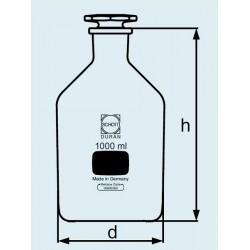 Бутыль DURAN Group 250 мл, NS19/26 узкогорлая, с пробкой, коричневое стекло