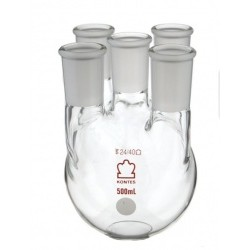 Колба пятигорлая круглодонная Kimble 500 мл, боковые шлифы 24/40, центральный 24/40, стекло (Артикул 607500-0224)